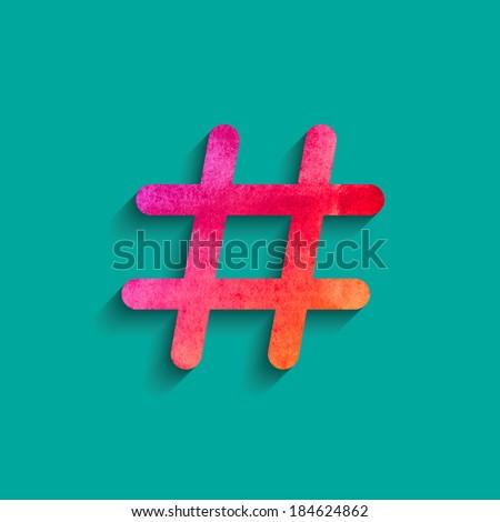 Watercolor Social network hashtag icon. Vector design. - stock vector