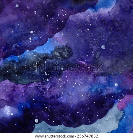 Watercolor space texture with glowing stars. Night starry sky with paint strokes and swashes. Vector illustration. - stock vector