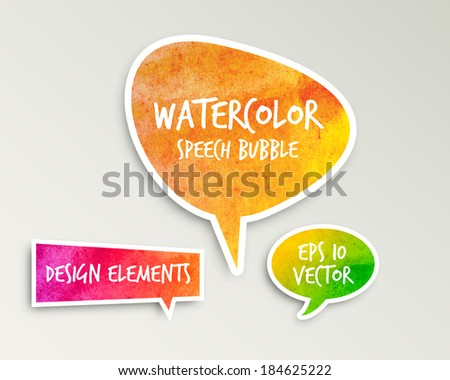 Watercolor Speech bubble set. Vector design.  - stock vector