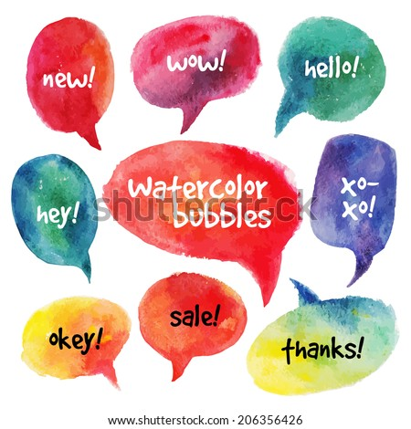 Watercolor speech bubbles set. Vector illustrations - stock vector