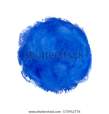 Watercolor splash. Blue abstract circle on the white background.  - stock vector