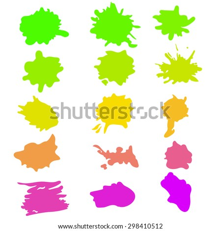 Watercolor splashes set in vector color 2 - stock vector