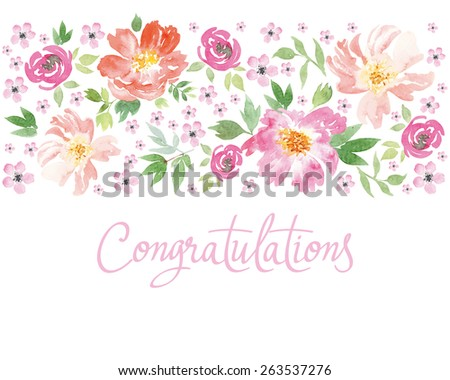 Watercolor spring flowers. Illustration, vector. Pattern frame. Hand lettering. - stock vector