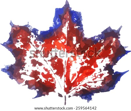 Watercolor stamp of a leaf. Colorful watercolor stamped painted leaves. Vector illustration.  Prints of leaves. Red and blue maple-leaf.