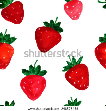 Watercolor strawberry on white background. Seamless pattern. Vector illustration - stock vector