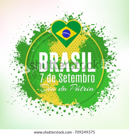 Watercolor style national greeting card design stock vector watercolor style national greeting card design retro background portuguese text brazil september m4hsunfo