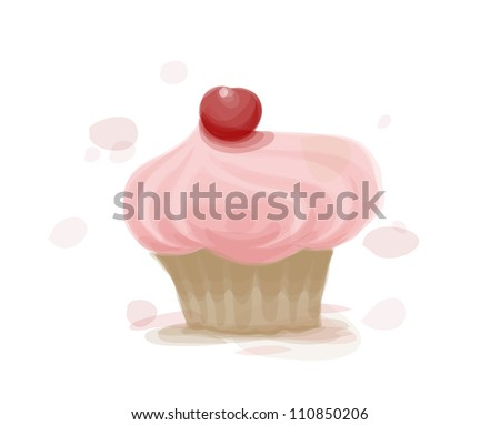 Watercolor style vector cake. EPS10 image. - stock vector