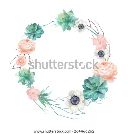 Watercolor succulents and flowers wreath. Vintage round frame with tree branch, pastel peony,roses, anemones, succulents, rose hip. Floral art print in vector - stock vector