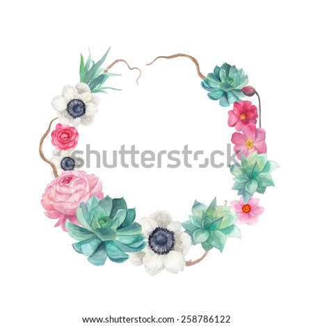 Watercolor succulents and flowers wreath. Vintage round frame with tree branch, peony,roses, anemones, succulents. Floral art print in vector - stock vector