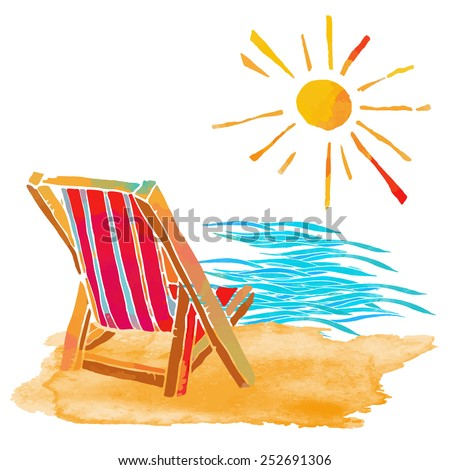 Watercolor summer beach set. Waves, sea, sun, deck chair, sand isolated on white background  - stock vector