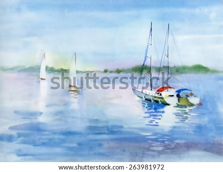 Watercolor summer landscape with Sailboats vector illustration - stock vector