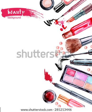 Watercolor summer pattern with cosmetics make up artist objects: lipstick, eye shadows,mascara, eyeliner, nail polish. Vector illustration. - stock vector