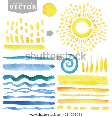 Watercolor summer set.Brushes,hand painting texture,burst,rays,sun shine,ocean wave template. Yellow,blue sea.Warm ,Bright design template.Vintage vector background.Holiday,vacation artistic texture - stock vector