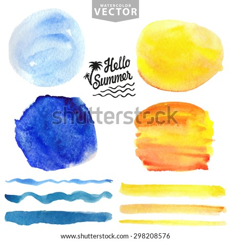 Watercolor summer texture,brush stroke.Hand painting splash,stains,spot  set. Blue see,ocean wave.Yellow Warm  sun.Bright design template.Vintage vector background.Holiday,vacation artistic template - stock vector