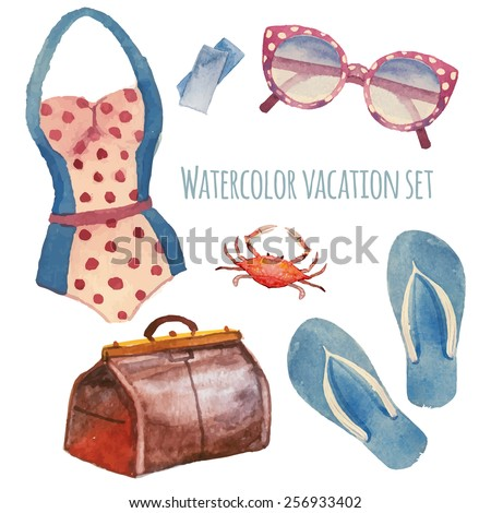 Watercolor summer vacation retro set. Vintage hand drawn beach objects: sunglasses, Luggage, flip flops, polka dot swimsuit, crab, tickets - stock vector