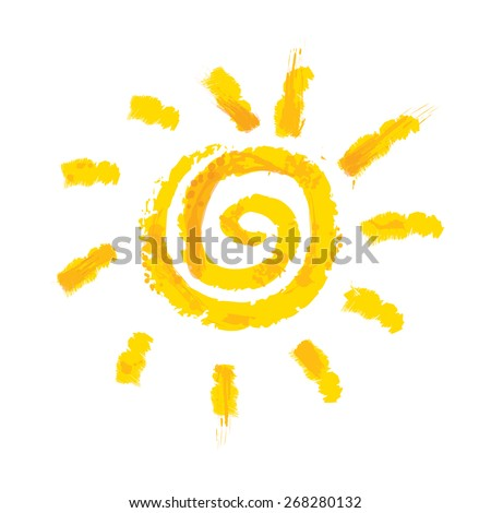 Watercolor sun, rays flat icon closeup silhouette isolated on white background. Art logo design - stock vector