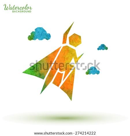Watercolor superhero symbol. Logo design. Start up vector illustration - stock vector