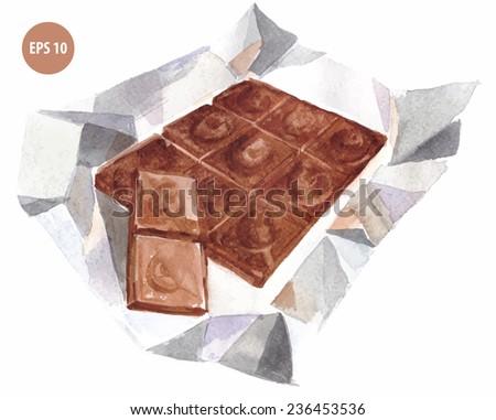 watercolor sweet chocolate - stock vector