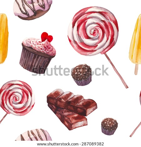 Watercolor sweets pattern. Seamless background with hand drawn food objects: cupcakes, chocolate, lollipop, fresh donut, nuts candy, fruit ice cream. Vector cute wallpaper - stock vector