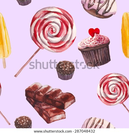 Watercolor sweets pattern. Seamless background with hand drawn food objects on pastel background: cupcakes, chocolate, lollipop, fresh donut, nuts candy, fruit ice cream. Vector cute wallpaper - stock vector