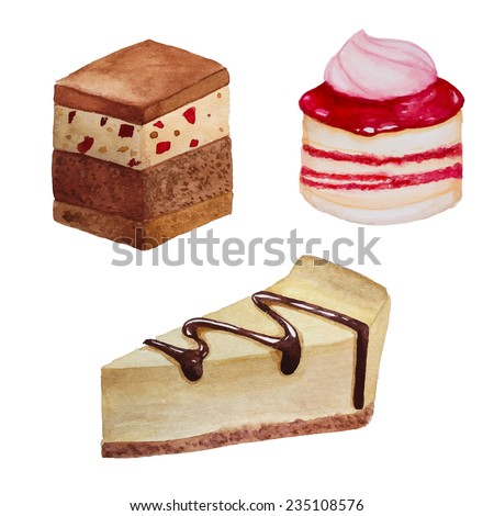 Watercolor sweets set. Cheesecake, raspberry biscuit with creme and caramel cake. Hand drawn artistic objects - stock vector