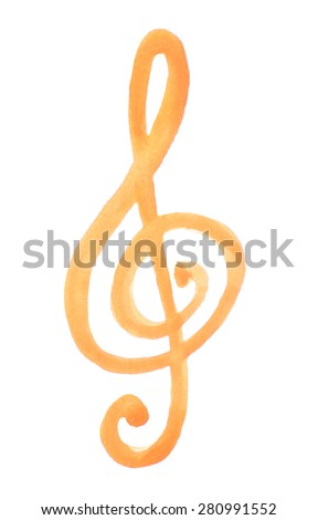 watercolor treble clef g on white - stock vector