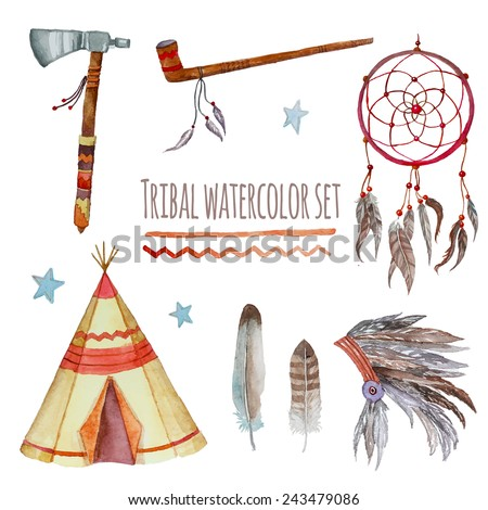 Watercolor tribal set. Collection of vintage hand drawn design elements: tepee, peace pipe, Indian hat, dreamcatcher, axe, feathers and stars. Vector illustration - stock vector