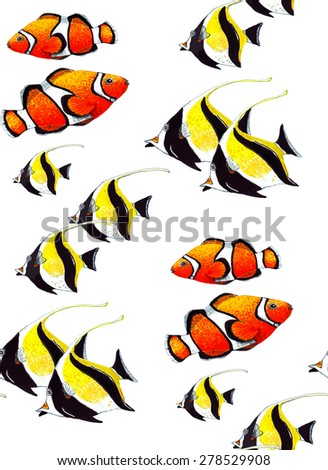 Watercolor Tropical Fish Seamless Pattern On White Background Texture Cloth Rug Design