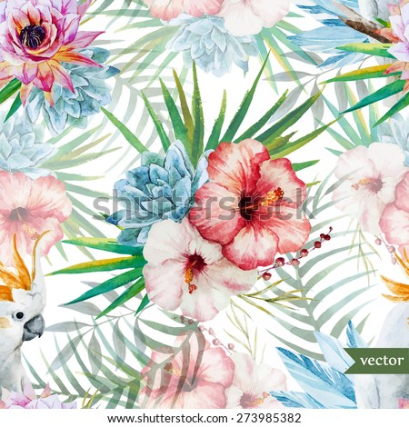 watercolor tropichessky vector pattern with hibiscus and parrot - stock vector