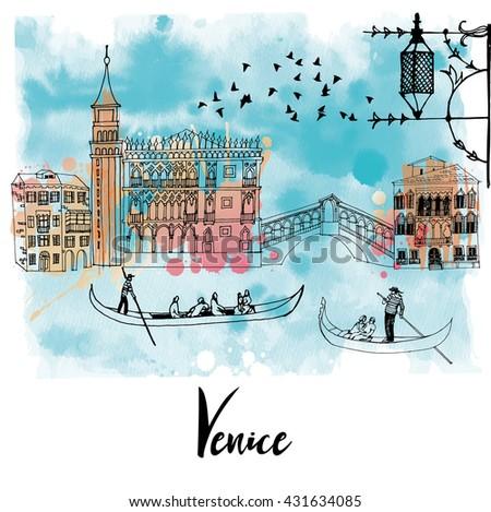 stock vector watercolor vector background of venice 431634085 - Каталог — Фотообои «Венеция»