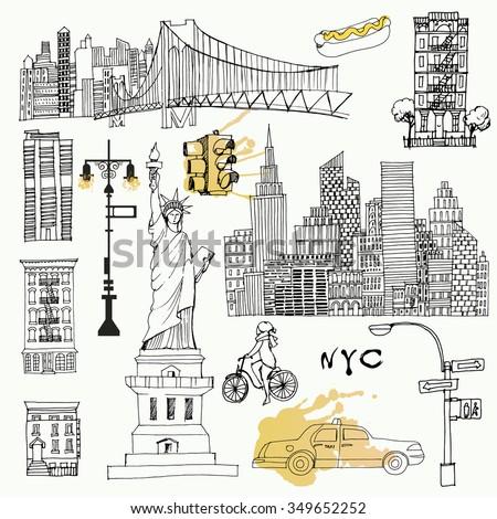 Watercolor vector background set of New York - stock vector