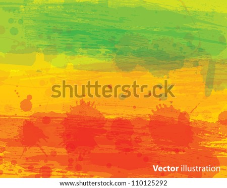 Watercolor vector background with classic reggae colors - stock vector