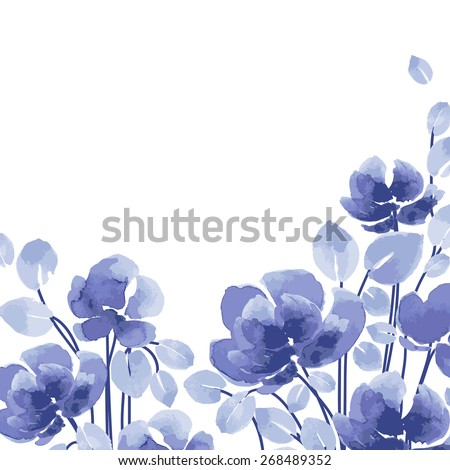 Watercolor vector flowers purple flowers on stock vektr 268489352 watercolor vector flowers purple flowers on a white background blue flowers watercolor floral mightylinksfo