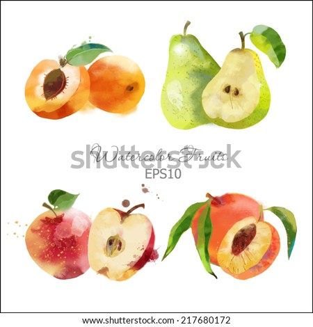 Watercolor vector fruits set of apricot, pear, peach and apple - stock vector
