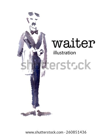 Watercolor vector illustration of waiter on white background. - stock vector