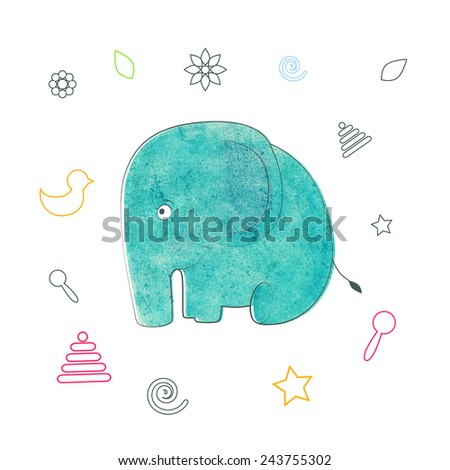 Watercolor vector kids print. Funny elephant. Color on a white background. - stock vector