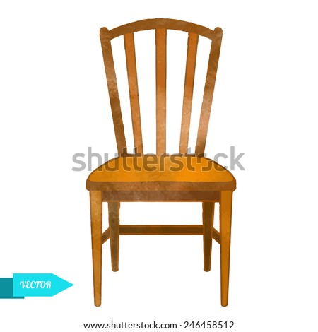 Watercolor vector modern chair closeup isolated on a white background - stock vector
