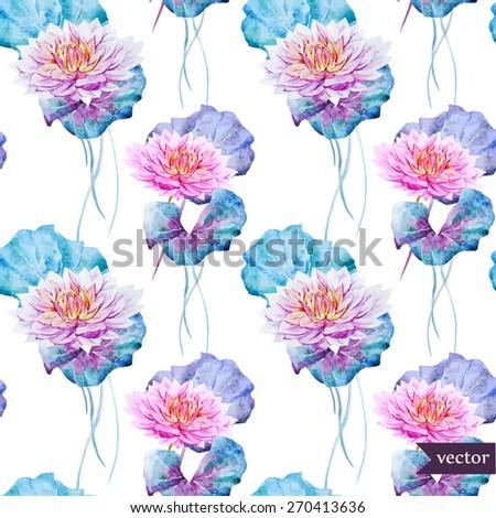 watercolor, vector, pattern, flowers, leaves, swamp, lotus blossom, emerald, pink, tender, wallpaper, background, seamless - stock vector
