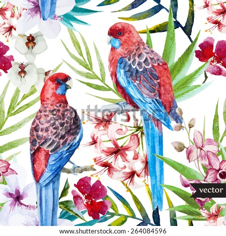 Watercolor, vector, pattern, flowers, tropical, parrot, rosella, bird - stock vector