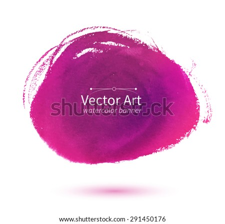 Watercolor vector pink hand drawn stain. - stock vector