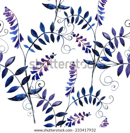Watercolor vector seamless pattern with wild vetch - stock vector