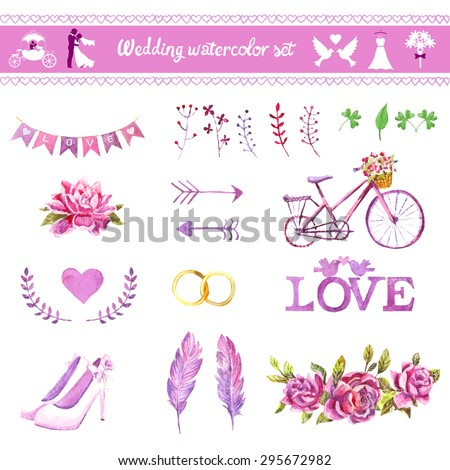 Watercolor vector set. Love design elements isolated. Save the date card. Wedding invitation card template. Wedding set, hearts, wreaths, ribbons, cake, shoes, ring, bicycle, arrows, flower, and feathers. - stock vector
