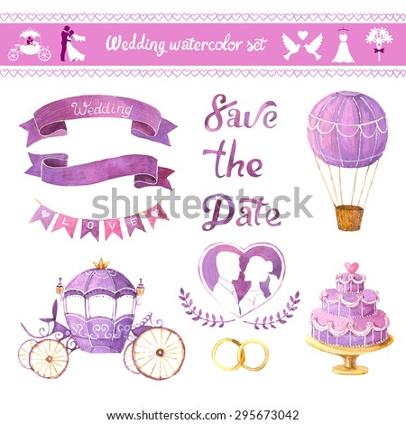 Watercolor vector set. Love design elements isolated. Save the date card. Wedding invitation card template. Wedding set, hearts, wreaths, ribbons, cake, coach, balloon, and rings. - stock vector