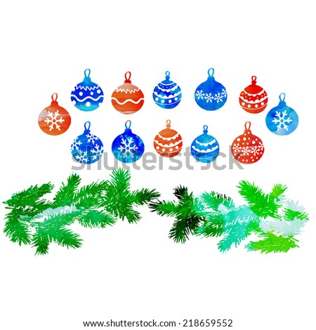 watercolor vector tree branches and a set of Christmas decorations - stock vector