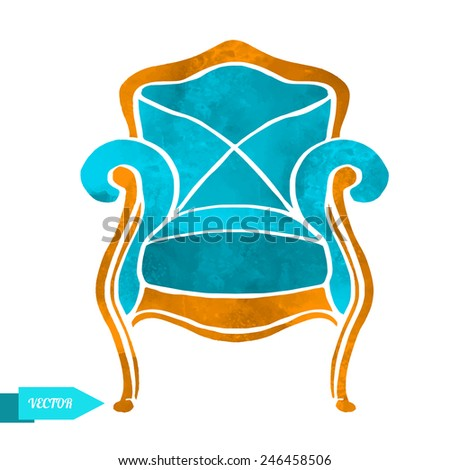 Watercolor vector vintage armchair closeup isolated on a white background - stock vector