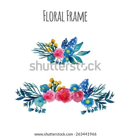 Watercolor vector wreath. Floral frame design. Hand drawn vintage illustration. EPS10. - stock vector