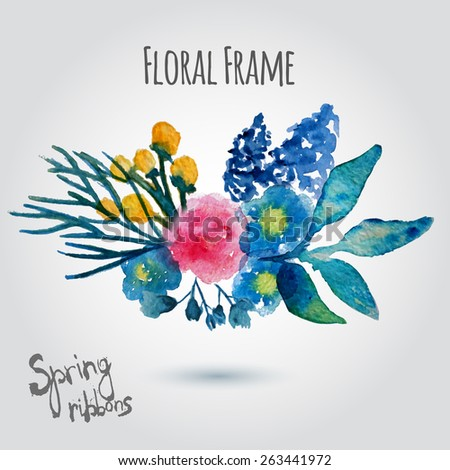 Watercolor vector wreath. Floral frame design. Hand drawn vintage illustration with rose and blue flowers. EPS10 - stock vector