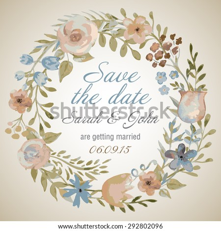 Watercolor vector wreath with flowers and leaves in vintage style. Wedding invitation template