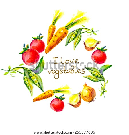 watercolor vegetables � I love vegetables, circle frame - stock vector