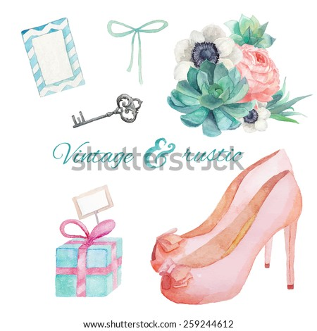 Watercolor Vintage and rustic wedding style set.  Various objects: bride bouquet with anemone, succulent, peony, nude shoes, silver key, table card, bow, gift box. Hand painted vintage set.  - stock vector